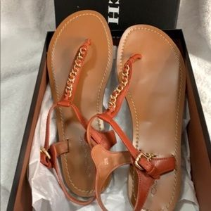 Authentic Coach chain link tan sandals